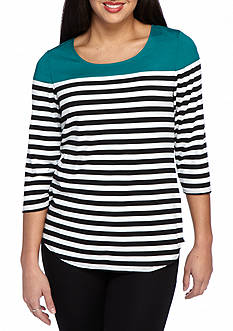 New Directions Petite Size Striped Woven Neck Top