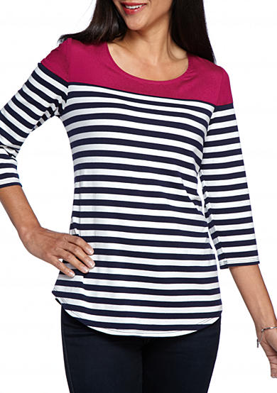 New Directions® Petite Size Striped Woven Neck Top