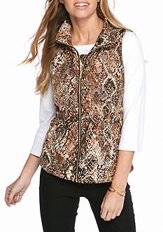 New Directions Petite Drawstring Animal Print Vest
