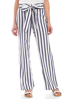New Directions Petite Size Tie Front Striped Pants