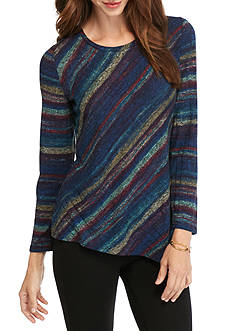 New Directions Pieced Stripe Rib Hacci Top