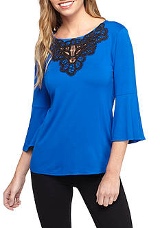 New Directions Petite Three-Quarter Bell Sleeve Crocheted Scoop Neckline Shirt