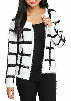 New Directions Petite Size Eyelash Grid Print Cardigan