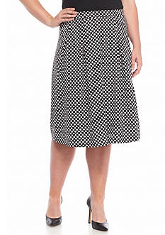 New Directions® Plus Size Dot Print Flare Skirt