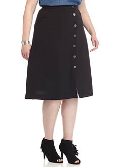New Directions Plus Size Button Front Solid Mid St Crepe Skirt