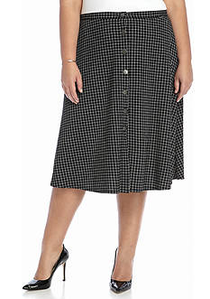 New Directions Plus Size Front Button Skirt