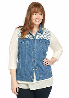 New Directions® Plus Size Crochet Trim Denim Vest