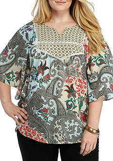 New Directions Plus Size Mixed Print Flutter Sleeve Blouse