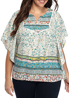 New Directions Plus Size Mixed Printed Blouse