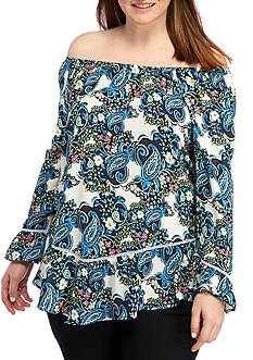 New Directions Plus Size Floral Top With Bell Sleeves And Pointed Ruffle Hem