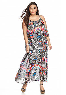 New Directions Plus Size Printed Popover Maxi Dress