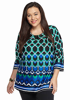 New Directions® Plus Size Embellished Neck Top