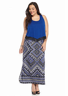 New Directions® Plus Size Popover Maxi Dress