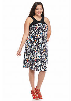 New Directions Plus Size Printed Halter Dress