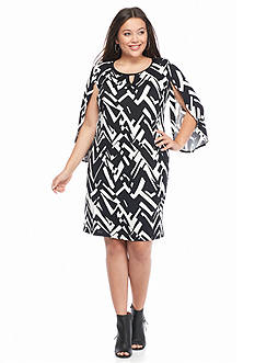 New Directions Plus Size Tulip Sleeve Printed Dress