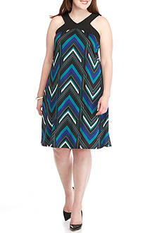 New Directions Plus Size Racer Back Geo Print Dress