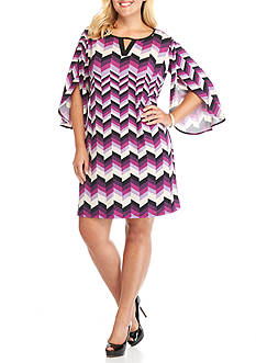 New Directions Plus Size Chevron Tulip Sleeve Dress