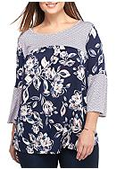 New Directions® Plus Size Bell Sleeve Floral