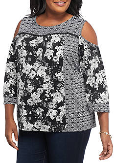 New Directions Plus Size Mixed Print Cold Shoulder Top