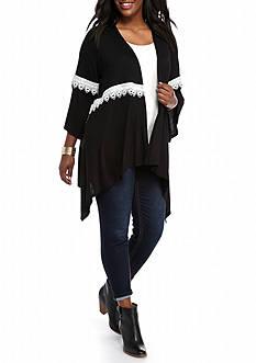 New Directions Plus Size Crochet Trim Cardigan