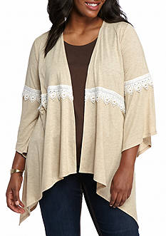 New Directions® Plus Size Crochet Trim Cardigan
