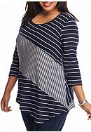 New Directions® Plus Size Pieced Stripe Top