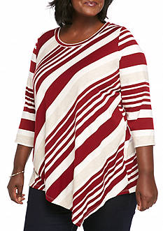New Directions Three/Fourth Sleeve Stripped Pointed Hem Top