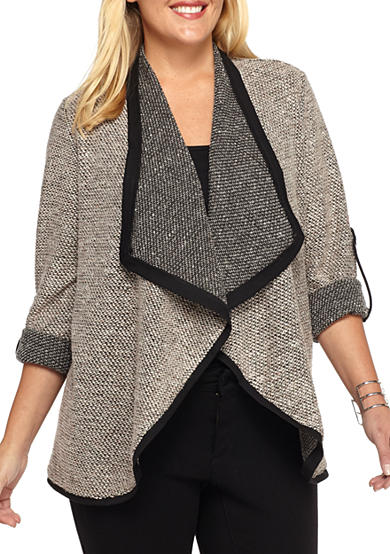 New Directions® Plus Size Roll Tab Boucle Sweater Jacket