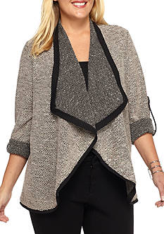 New Directions Plus Size Roll Tab Boucle Sweater Jacket