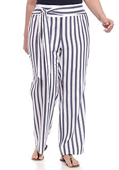 New Directions® Plus Size Tie Front Striped Pants