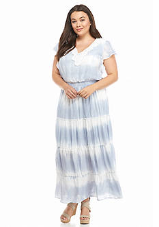 New Directions® Plus Size Tie-Dye Tiered Maxi Dress
