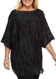 New Directions Plus Size Dolman Sleeve With Fringe Sweater