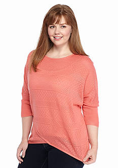 New Directions® Plus Size Solid Tulip Sweater