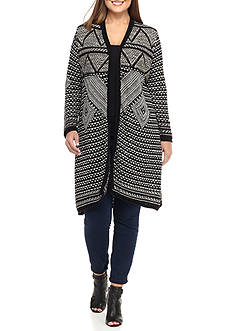New Directions® Plus Size New Directions Aztec Print Cardigan