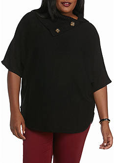 New Directions Plus Size Button Split Collar Sweater