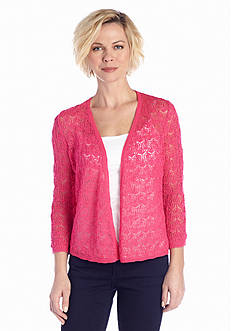 Kim Rogers® Open Front Lace Stitch Cardigan