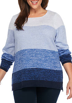 Kim Rogers Plus Size Ombre Boat Neck Sweater
