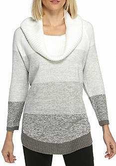 Kim Rogers® Cowl Neck Round Hem Colorblock Sweater