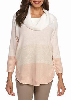 Kim Rogers Cowl Neck Round Hem Colorblock Sweater