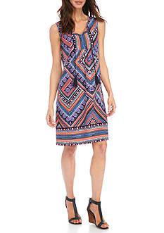 Kim Rogers Sleeveless Bib Tie Stripe Dress