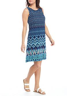 Kim Rogers Sleeveless Border Chevron Swing Dress