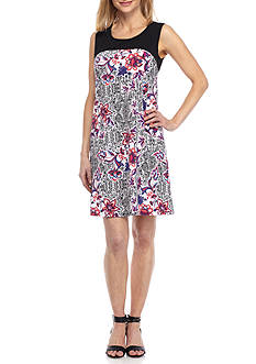 Kim Rogers Sleeveless Colorblock Swing Floral Dress