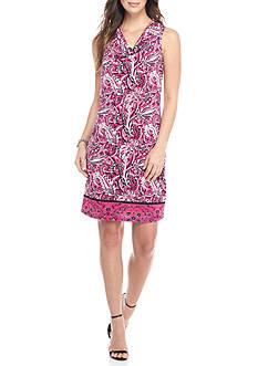 Kim Rogers Sleeveless Drape Neck Paisley Print Dress