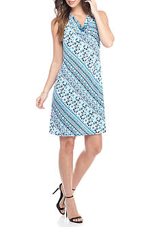 Kim Rogers Sleeveless Drape Neck Paisley Print Dress