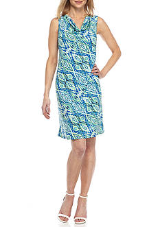 Kim Rogers Sleeveless Drape Neckline Patchwork Dress