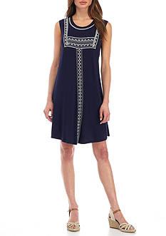 Kim Rogers Petite Size Embroidered Yoke Dress