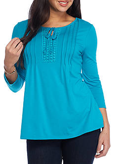 Kim Rogers® Lace Trim Pintuck Top