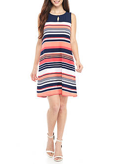 Kim Rogers® Petite Size Colorblock Keyhole Dress