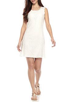 Kim Rogers Petite Size Eyelet Shift Dress