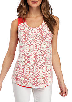 Kim Rogers Petite Size Lace Overlay Front Tank